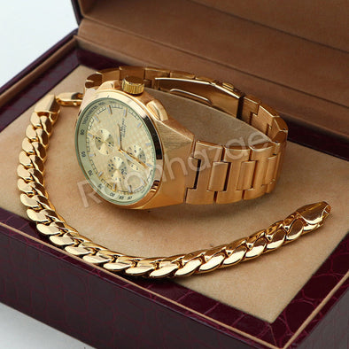 Men 14K Gold PT Round Bezel Metal Band Watch 10mm Gold Miami Cuban Bracelet H85G - Raonhazae