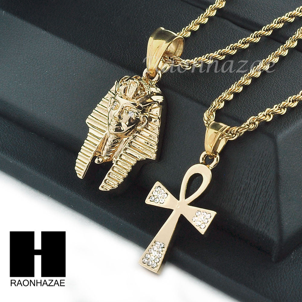 Stainless steel king tut ankh pendant 24 30 rope chain stainless steel king tut ankh pendant 24 30 rope chain necklace set np016 aloadofball Gallery