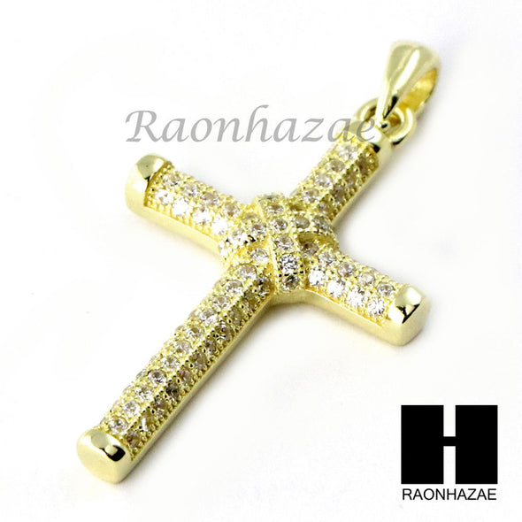 Sterling Silver .925 AAA Lab Diamond Jesus Cross w/2.5mm Moon Chain S31 - Raonhazae