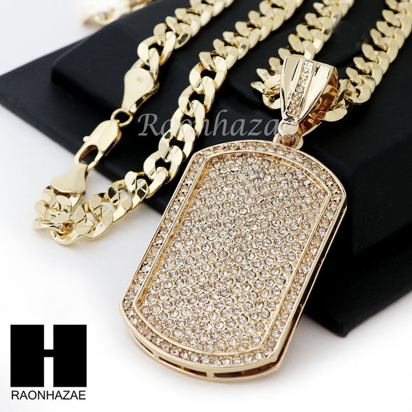 HIP HOP DOG TAG PAVE PENDANT DIAMOND CUT CUBAN LINK CHAIN NECKLACE N38 - Raonhazae
