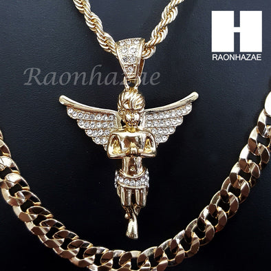 "ANGEL CHARM ROPE CHAIN DIAMOND CUT 30"" CUBAN CHAIN NECKLACE SET G13 - Raonhazae"