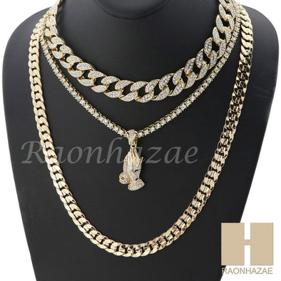 "14K GOLD PT PRAYING HANDS MIAMI CUBAN 16""~30"" CHOKER TENNIS CHAIN S038 - Raonhazae"