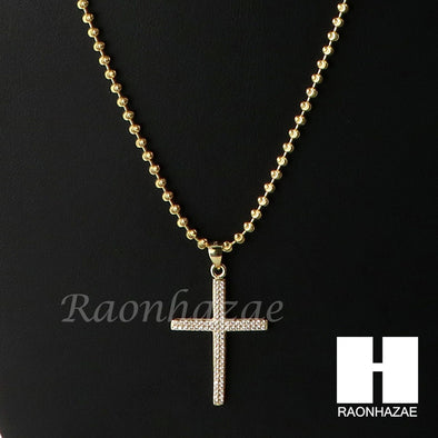 Sterling Silver .925 AAA Lab Diamond Jesus Cross w/2.5mm Moon Chain S29 - Raonhazae