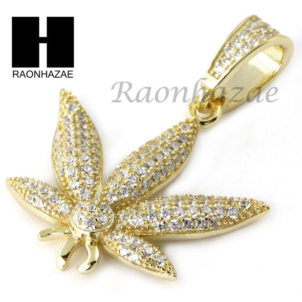 Iced Out Sterling Silver .925 AAA Lab Diamond Marijuana 2.5mm Moon Chain SS18 - Raonhazae