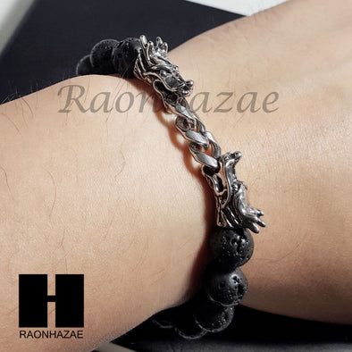 Mens 316L Stainless steel Double Dragon Black Lava Rock Stone Bracelet B0012S - Raonhazae