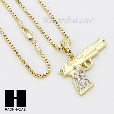 "ICED OUT RUBY HANDGUN PLUG PENDANT 24"" 30"" ROPE BOX CUBAN CHAIN NECKLACE SET S03 - Raonhazae"