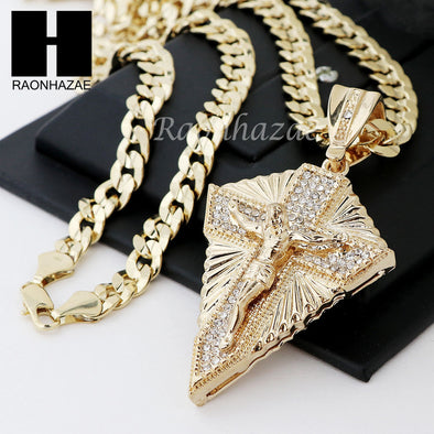 MENS CRUCIFIX CROSS PENDANT DIAMOND CUT CUBAN LINK CHAIN NECKLACE N39 - Raonhazae