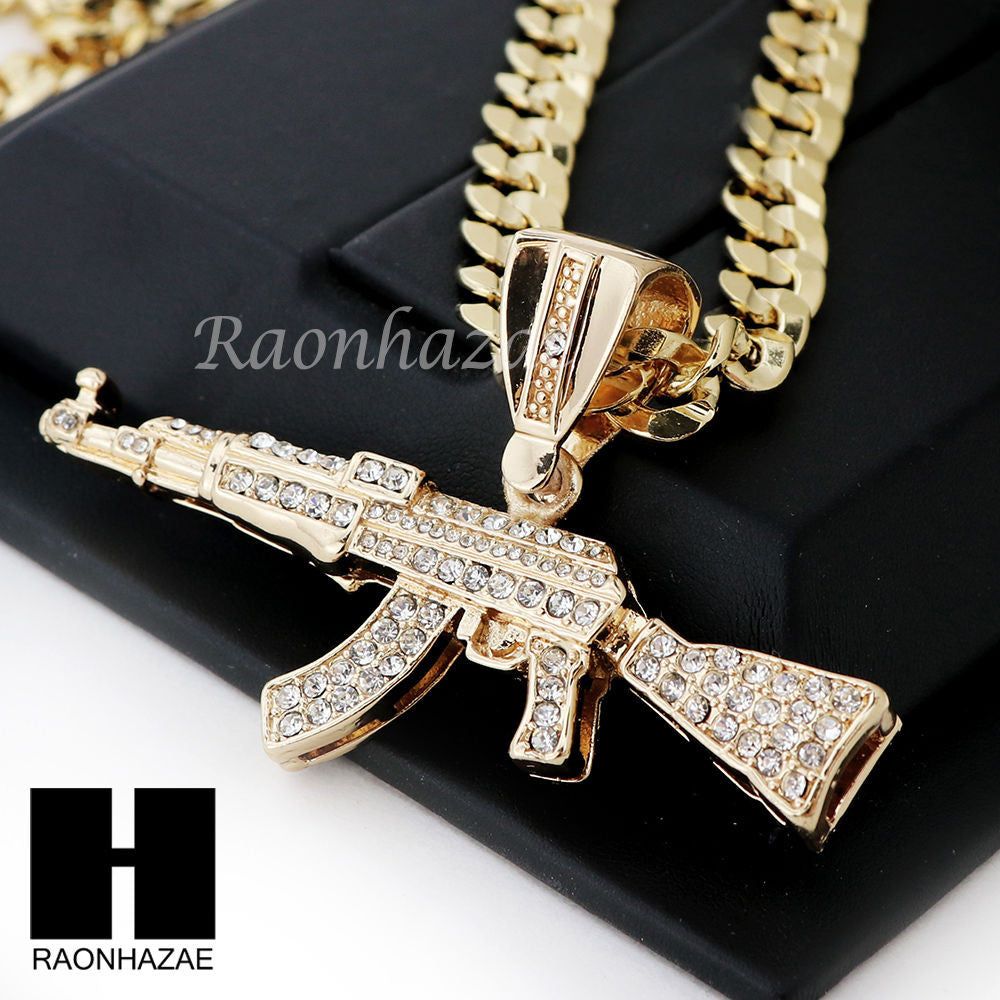 Hip Hop Iced Out Ak 47 Gun Big Pendant Diamond Cut Cuban