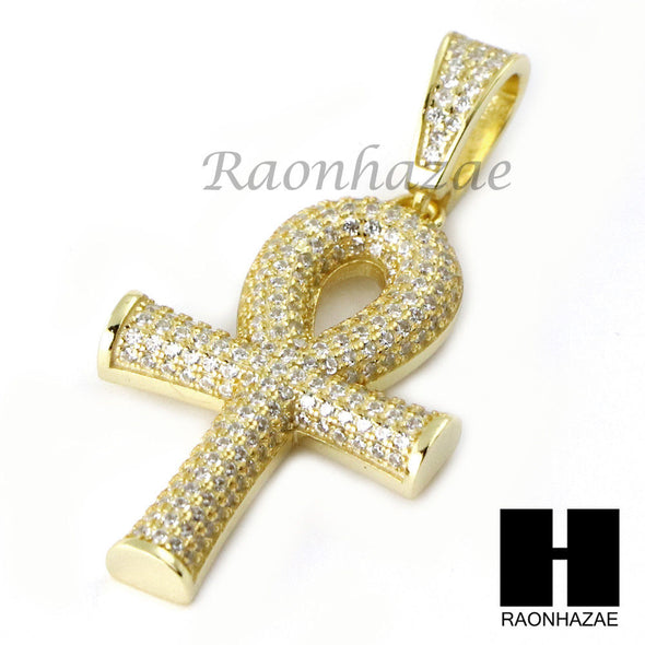 Sterling Silver .925 AAA Lab Diamond ANKH Cross w/2.5mm Moon Chain S37 - Raonhazae