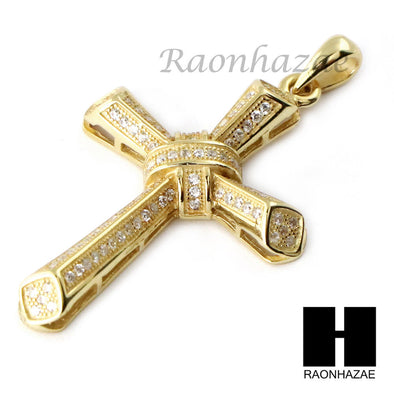Iced Out Sterling Silver .925 AAA Lab Diamond Jesus Cross w/2.5mm Moon Chain S28 - Raonhazae