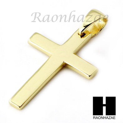 Iced Out Sterling Silver .925 Christian Gold Metal Cross 2.5mm Moon Chain SS013 - Raonhazae