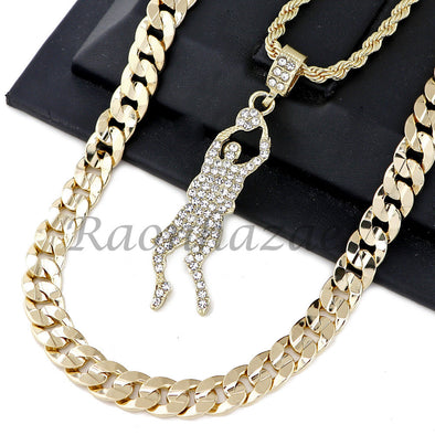 "BASKETBALL PLAYER PENDANT DIAMOND CUT 30"" CUBAN ROPE CHAIN NECKLACE G34 - Raonhazae"