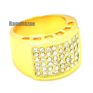 MENS HIP HOP RAPPER CHUNKY ICED OUT RICK 14K GOLD PLATED RING SIZE 7 - 12 N009G - Raonhazae