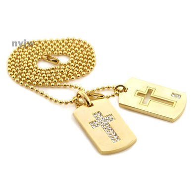 "NEW TUPAC CROSS DESIGN DOUBLE DOG TAG 18k GOLD FILLED W 30"" BALL CHAINS DTC005GS - Raonhazae"