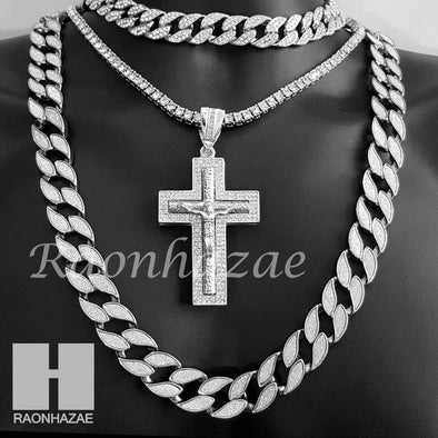 "Hip Hop Cross Pendant 16"" Choker 18"" Tennis 30"" Miami Cuban Chain 16S - Raonhazae"