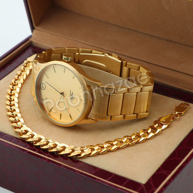 14K Gold PT Designer Bezel Metal Band Gold Watch Diamond Cut Cuban Bracelet G103 - Raonhazae