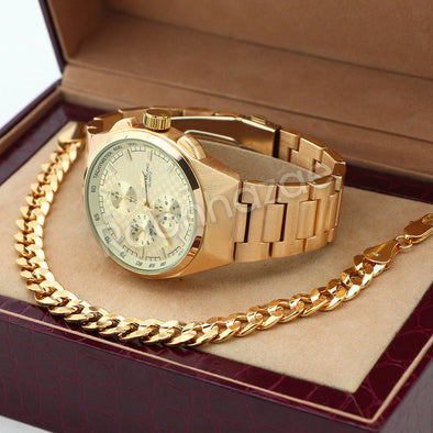 14K Gold PT Designer Bezel Metal Band Gold Watch Diamond Cut Cuban Bracelet G85G - Raonhazae