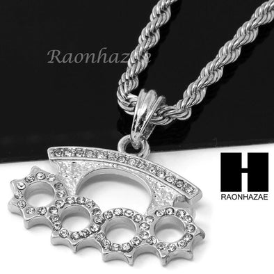 "MENS HIP HOP KNUCKLE DUSTER PENDANT 24"" ROPE CHAIN NECKLACE N032 - Raonhazae"