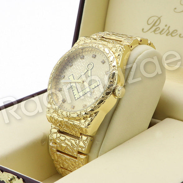 Men Hip Hop 14K Gold PT Luxury Bling Freemason Watch Sandblast Bracelet Set F24G - Raonhazae