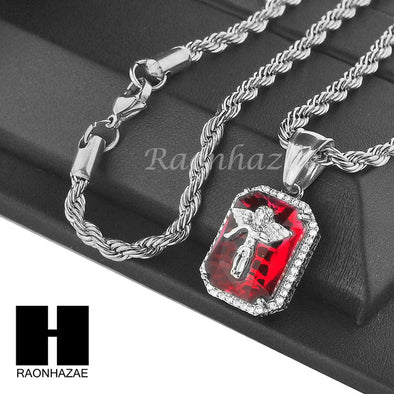 "STAINLESS STEEL RUBY ANGEL CZ PENDANT 24"" ROPE CHAIN NECKLACE NP020 - Raonhazae"