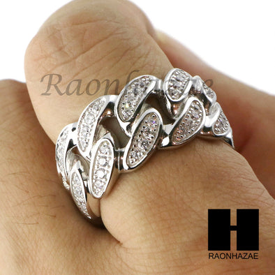 Sterling Silver .925 AAA Lab Diamond Cuban Link Migos Ring SS009 - Raonhazae