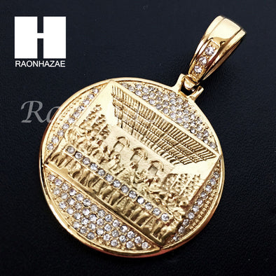 Mens Stainless steel Gold Last Supper Charm Round Pendant SS005 - Raonhazae