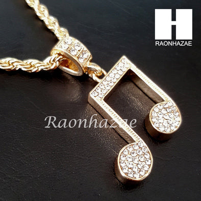 "MEN GOLD MIGOS MUSIC NOTE CHARM CUT 30"" CUBAN LINK CHAIN NECKLACE S086G - Raonhazae"