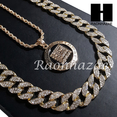 "New 14k Gold PT Pyramid Pendant 15mm Miami Cuban 30"" Necklace SET 203G - Raonhazae"