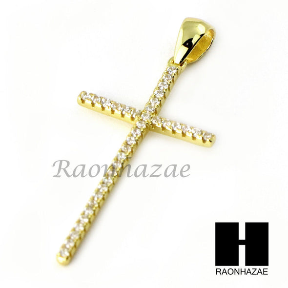 Iced Out Sterling Silver .925 AAA Lab Diamond Flat Cross w/2.5mm Moon Chain S32 - Raonhazae