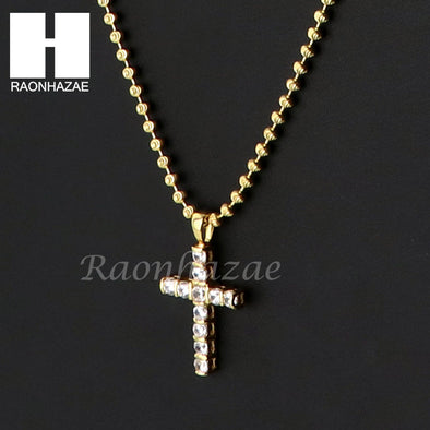 Sterling Silver .925 AAA Lab Diamond Jesus Cross w/2.5mm Moon Chain S30 - Raonhazae