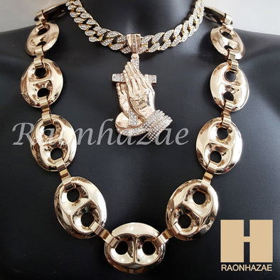 "Gold Praying Hands Pendant 16"" Iced Out Choker 30"" Puffed Gucci Cuban Chain 3 - Raonhazae"