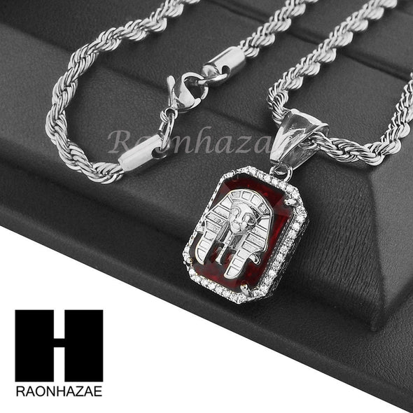 "STAINLESS STEEL RUBY KING-TUT CZ PENDANT 24"" ROPE CHAIN NECKLACE NP022 - Raonhazae"