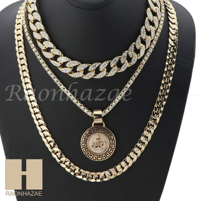 "14K GOLD PT ALLAH ROUND ICED OUT MIAMI CUBAN 16""~30"" CHOKER TENNIS CHAIN S036 - Raonhazae"