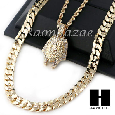 "MEN KING TUT ROPE DIAMOND CUT 30"" CUBAN LINK CHAIN NECKLACE SET SS01G - Raonhazae"