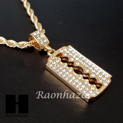 "MEN ICED OUT GOLD BARBER RAZOR BLADE CHARM CUT 30"" CUBAN LINK CHAIN NECKLACE S87 - Raonhazae"