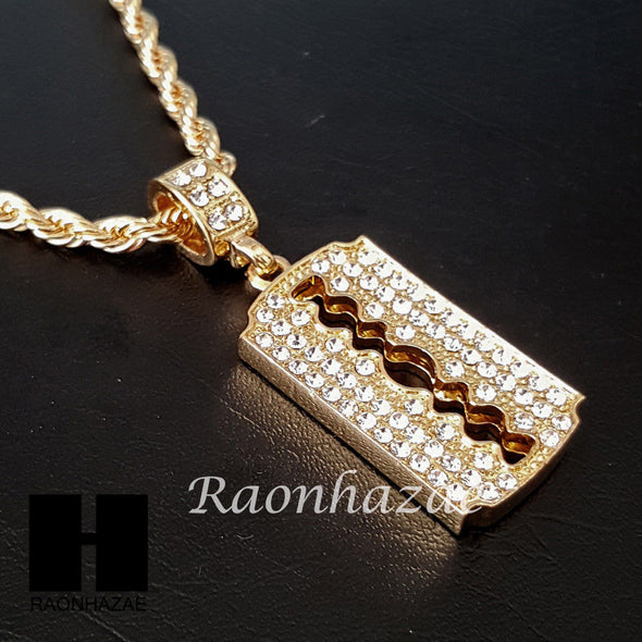"MEN GOLD BARBER RAZOR BLADE CHARM CUT 30"" CUBAN LINK CHAIN NECKLACE S87 - Raonhazae"
