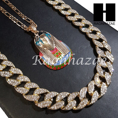"New 14k Gold PT EYE OF HORUS Pendant 15mm Miami Cuban 30"" Necklace S197 - Raonhazae"