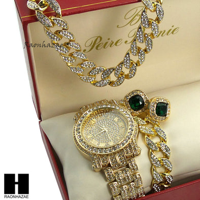 "Pave Watch 30"" Cuban Stone Chain Bracelet Emerald Earring Combo Set - Raonhazae"