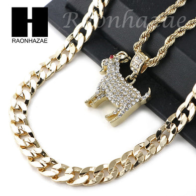 "KODAK BLACK GOAT CHARM DIAMOND CUT 30"" CUBAN CHAIN NECKLACE SET G24 - Raonhazae"
