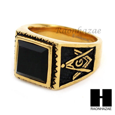 MEN 316L STAINLESS STEEL BLACK ONYX STONE GOLD BLACK RING SIZE 8-12 SR016G - Raonhazae