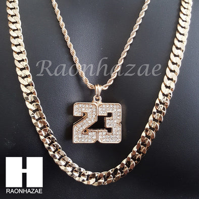"MEN ICED OUT 23 PENDANT CHAIN DIAMOND CUT 30"" CUBAN LINK CHAIN NECKLACE S070 - Raonhazae"