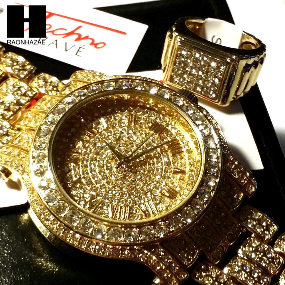HIP HOP ICED OUT RAPPER GOLD FINISHED SIMULATED DIAMOND WATCH RING SET –  RAONHAZAE 460c49a07a
