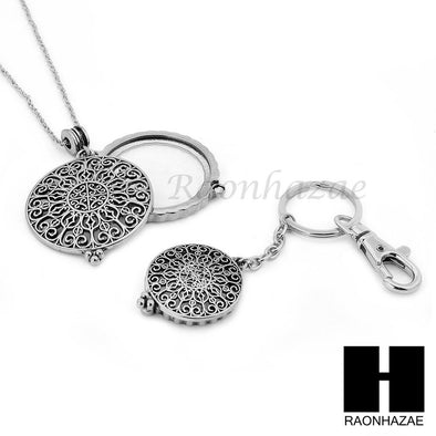 Silver 5X Magnifying Glass Round Filigree Key Chain Pendant Chain Necklace Set SJ3S - Raonhazae
