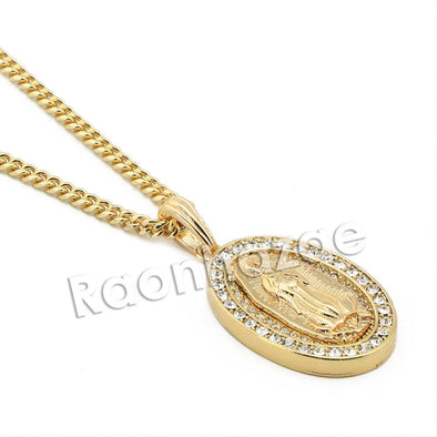 "Mens Bling Guadalupe Pendant w/ 5mm 24"" 30"" Cuban Brass Chain A05G - Raonhazae"