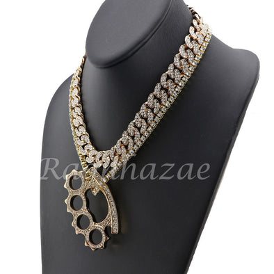 "14K GOLD PT KNUCKLE 18"" TENNIS CHAIN 16"" 30"" CHOKER CUBAN CHAIN S32G - Raonhazae"