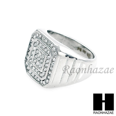 MEN RING 316L STAINLESS STEEL WHITE GOLD CZ BLING RING SIZE 8-12 SR012S - Raonhazae
