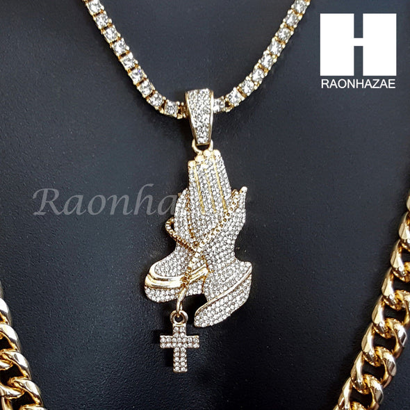 "PRAYING HANDS CHARM 16""-30"" TENNIS CHAIN 30"" CUBAN CHAIN NECKLACE G23 - Raonhazae"