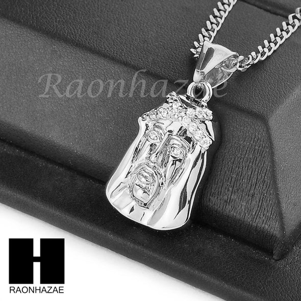 "MENS STAINLESS STEEL JESUS FACE CZ PENDANT 24"" CUBAN NECKLACE SET NP004 - Raonhazae"