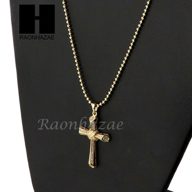 Sterling Silver .925 AAA Lab Diamond Jesus Cross w/2.5mm Moon Chain S28 - Raonhazae