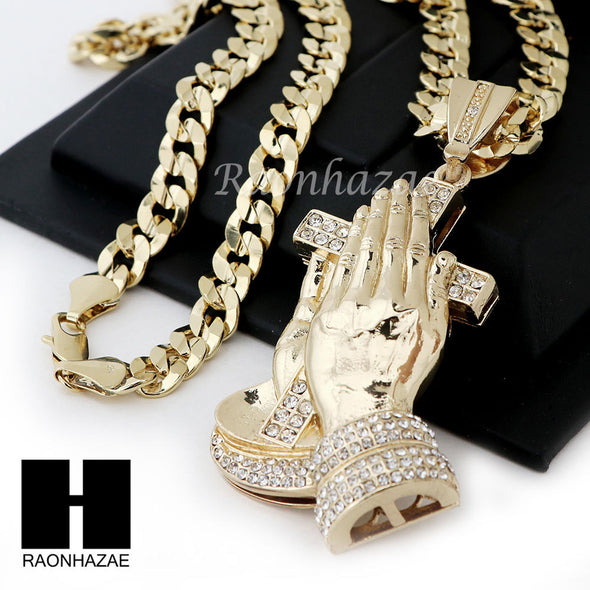 "HIP HOP ICED OUT PRAYING HANDS PENDANT 20"" 24"" 30"" CUBAN LINK CHAIN NECKLACE N37 - Raonhazae"